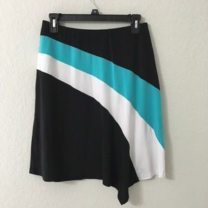 Cache Asymmetrical Skirt with bold stripes. Sz M